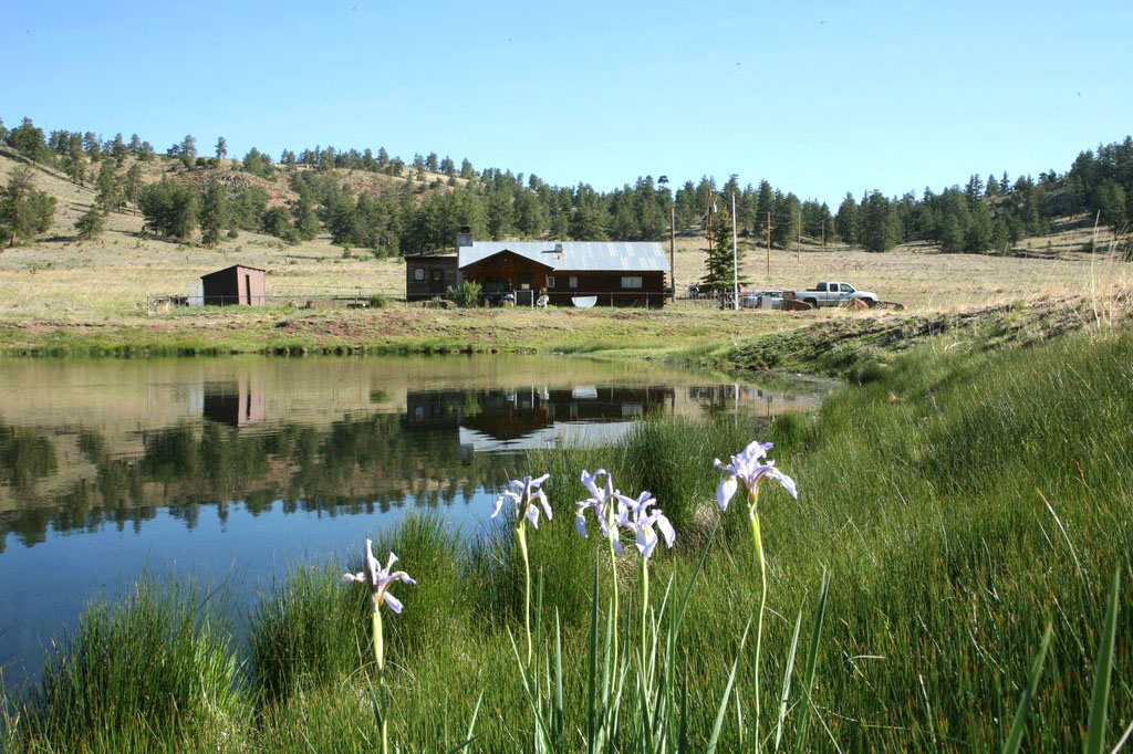 Historic Barn by lake with flowers at 31 Mile Ranch near Royal Gorge, Colorado