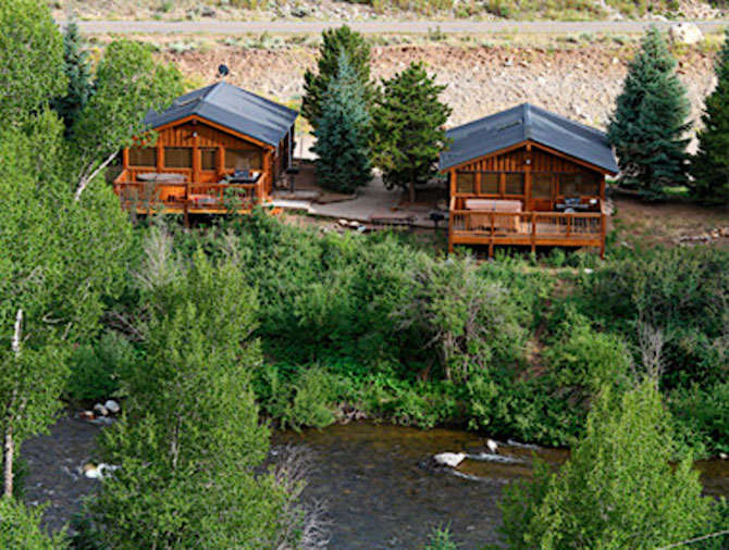 Birds eye view of Three Rivers Resort and Outfitting property in Gunnison Colorado
