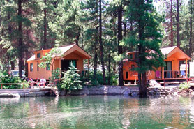 Lake Vallecito cabins at 5 Branches Camper Park and Cabins in Durango, Colorado