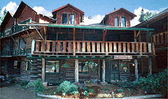 Th front of Allenspark Lodge, a classic mountain B&B near Estes Park, Colorado