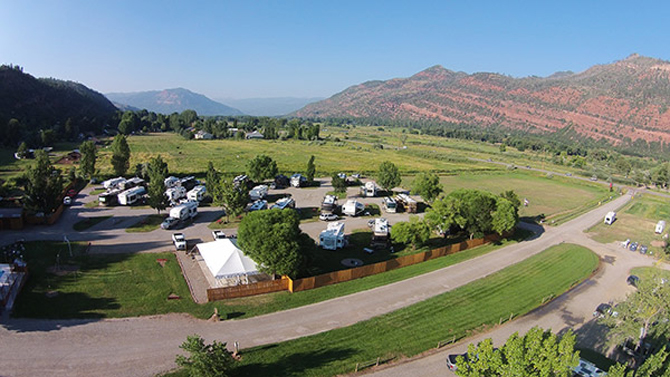 Alpen Rose RV Resort from the air, near Durango, Colorado