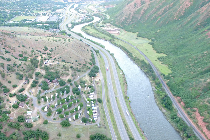Aerial view of Amis Acres Campground near Glenwood Springs, Colorado