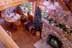 A cozy fire place at Annies Mountain Retreat & Guest Resort in Estes Park Colorado