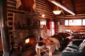 Relax with a massage at Antero Hot Springs Cabins in Buena Vista, Colorado