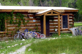 Antero Hot Springs Cabin with mountain bikes out front located in the Buena Vista Area