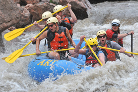 Extreme whitewater rafting on the Arkansas River near the Royal Gorge and Salida, Colorado