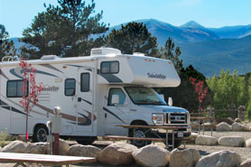 RV parked at Arrowhead Point Campground Cabins and RV Park in Buena Vista Colorado