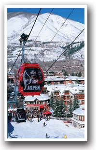 Red Ski Lift in Aspen Mountain Ski Resort, Colorado