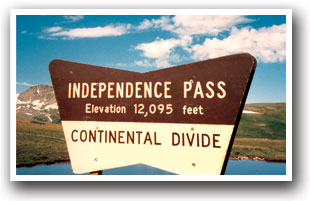 Independence Pass sign at the Continental Divide in Colorado