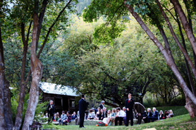 A wedding party at Avalanche Ranch, outdoor wedding barn and hotsprings