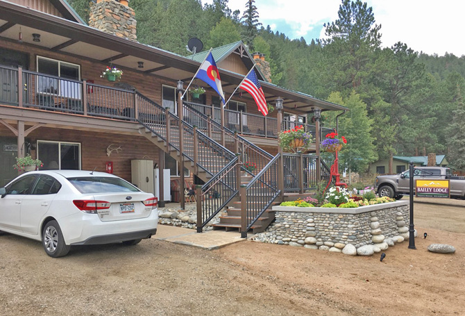 Front view of Bailey Lodge near Bailey, Colorado. Excellent fly-fishing, lodging along Colorado's Fabled South Platte River, and Family Suites with views.