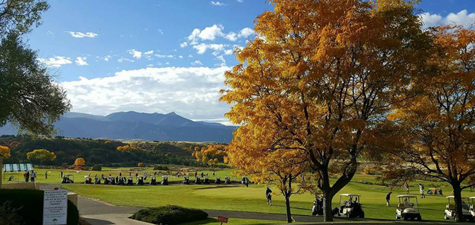 Scenic view of Award winning golf course at Battlement Mesa Golf Club in Rifle, Colorado
