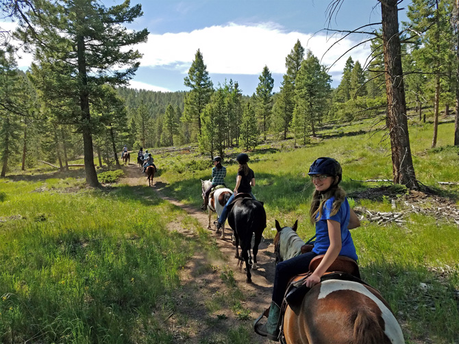 Horseback Riders on a mountain setting guided tour with Bear Mountain Stables in Conifer, Colorado. Small tours have up to 6 riders.