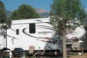 Shaded RV lots at Bighorn Park in Coaldale Colorado