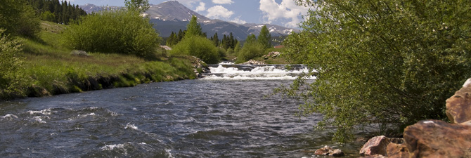 Beautiful river view at Breck Heaven Luxury Vacation Homes in Summit County, Colorado