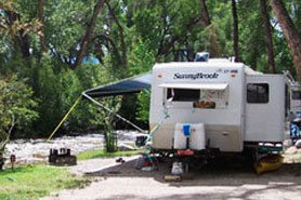 RV camping at Chalk Creek Campground, Cabins & RV Park, Nathrop, CO, Colorado