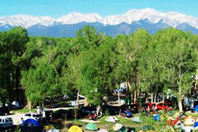 Tents at Chalk Creek Campground, Cabins & RV Park, Nathrop, CO, Colorado