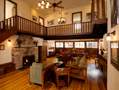A balcony and fireplace at Colorado Chautauqua in Boulder, CO, The Colorado Vacation Directory