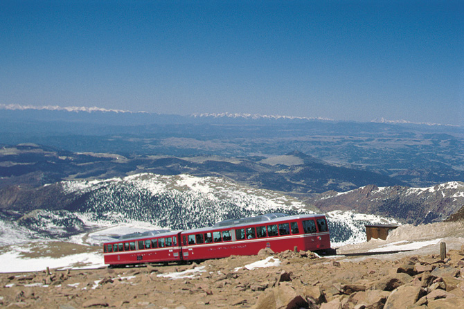 Beautiful view of the Broadmoor Pikes Peak Cog Railway near Manitou Springs, Colorado