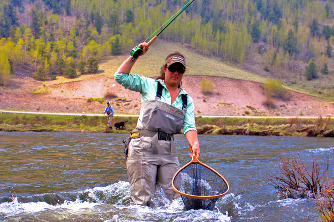 An angler fishing in the Conejos River near Conejos River Anglers and Cabins in Antonito, Colorado. Fish Our Private Section of the Conejos River. Professional Local Angler Guides. Enjoy the River on Your Own. West of Antonito Colorado.