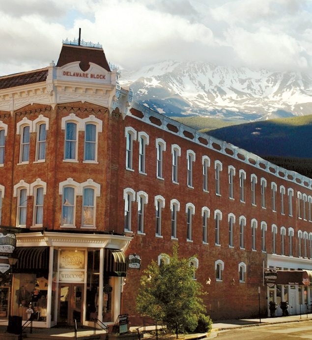 The outside of the Historic Delaware Hotel on Harrison Avenue in Leadville Colorado