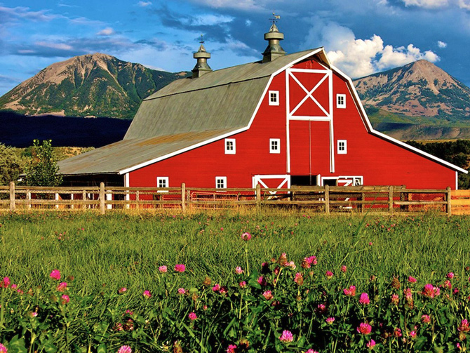 Famous red barn, a symbol of Delta County, Colorado