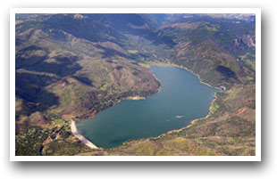 Aerial view of Vallecito Lake in Durango, Colorado