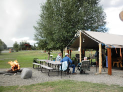 A covered pavilion for weddings and group reunions at Fireside Cabins, The Colorado Vacation Directory