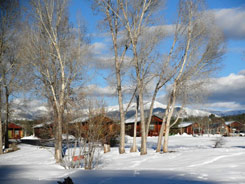 cFireside Cabins sunrounded by snow in pagosa springs, Colorado, The Colorado Vacation Directory