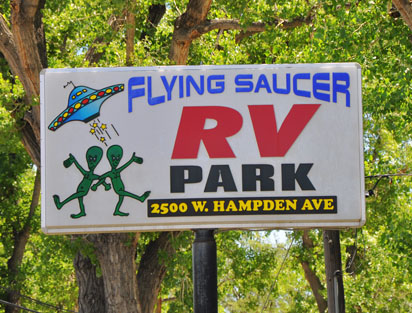Flying Saucer RV Park Sign in the Denver, Colorado Area