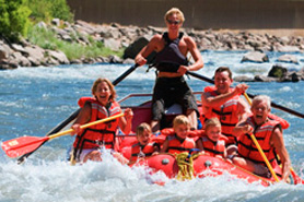 Rafters in Glenwood Canyon in Colorado