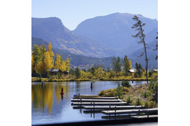 View of boat docks in the fall at Grand Lake, Colorado
