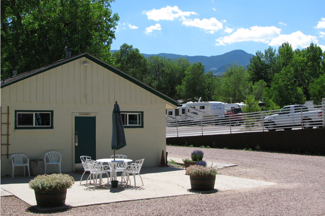 Office at Goldfield RV Park and Camper Cabins on beautiful day near Garden of the Gods Colorado Springs, Colorado