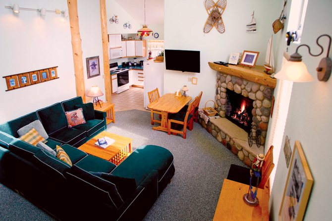 Inside of Grand West Village Mountain Resort with fireplace, in the Leadville and Twin Lakes Area