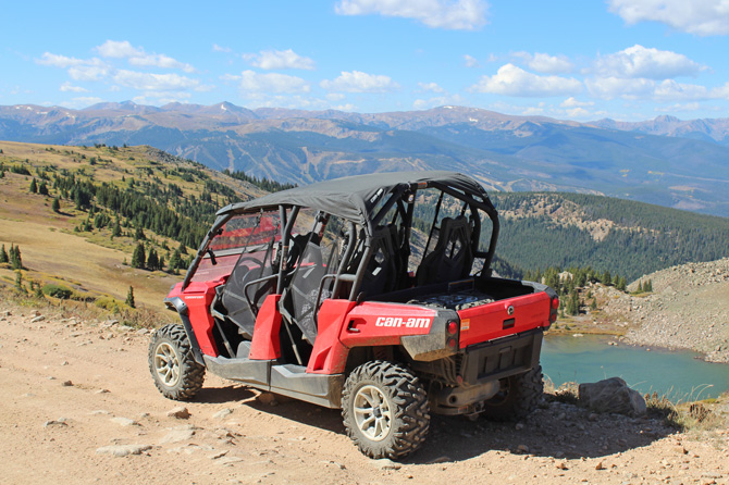 ATV on mountain trail rented with Grand Adventures in the Winter Park area, Colorado