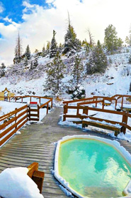 Hot springs pool in the winter at Hot Sulphur Springs, Colorado