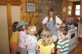 Kids on a tour at Hiwan Homestead Museum and Heritage Park in Evergreen, Colorado