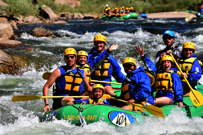 Multiple people rafting with Colorado Adventures on the Arkansas River, Colorado