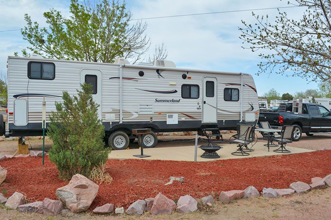 RV's at the KOA in Colorado Springs, Colorado. Bring your family to the Pikes Peak Region. Camp in the foothills. Pull-thru 50 amp RV sites. Cabins and deluxe tenting areas.