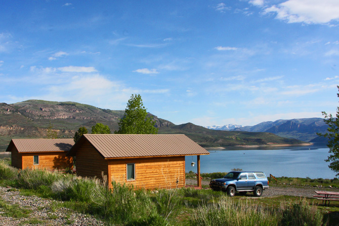 2 cabins on the beach of Blue Mesa Lake from Blue Mesa Escape