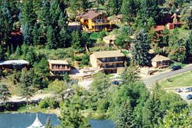 Aerial view of Lakeside Cottages in the Pikes Peak Area of Colorado
