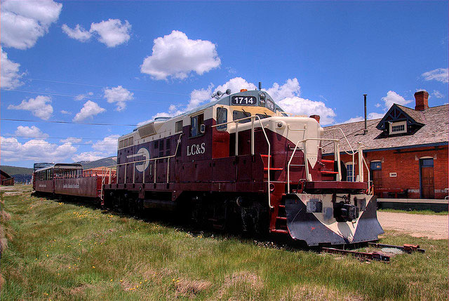 Front of the Leadville Colorado and Southern Railroad train near Leadville & Twin Lakes area in Colorado