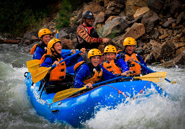 Whitewater rafters from A Liquid Descent Whitewater Rafting in Summit County, Colorado