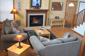 Cozy interior with fireplace of Lone PIne Lodge near Leadville and Twin Lakes, Colorado