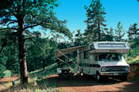 RV camping site at Lost Burro Camping & Lodging in Cripple Creek, Colorado