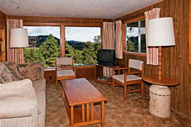 Large Picture windows bring the wilderness to you at Machin's Cottages in Estes Park, Colorado