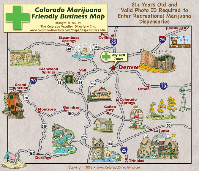 Map of Colorado Marijuana Tours, Dispensaries and Services