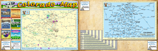 Colorado State Map, Mileage Table, Time Table