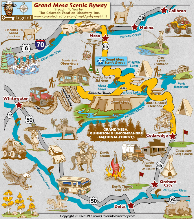 Grand Mesa Scenic Byway Map | Colorado Vacation Directory