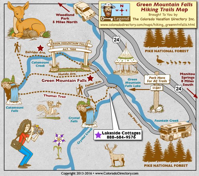 Green Mountain Falls Hiking Trails Map Colorado Vacation Directory - Colorado waterfalls map